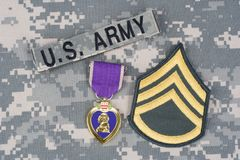 Purple Heart nagroda na wojsko usa mundurze Zdjęcia Stock