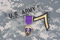 Purple Heart nagroda na wojsko usa mundurze Obraz Royalty Free