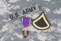 Purple Heart nagroda na wojsko usa mundurze Zdjęcie Stock