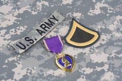 Purple Heart nagroda na wojsko usa mundurze Zdjęcie Royalty Free