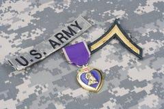 Purple Heart nagroda na wojsko usa mundurze Fotografia Stock