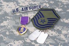 Purple Heart nagroda z psimi etykietkami na USA siły powietrzne mundurze Zdjęcie Royalty Free