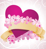 Purple heart and pink flowers Royalty Free Stock Image