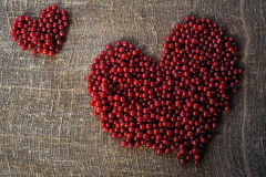 Purple heart of red currant berries collected on an organically clean rural. Farmstead royalty free stock photo