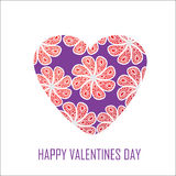 Purple heart with red flowers for Valentines Day,  Stock Images