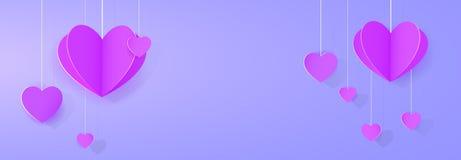 Purple heart-shaped festoon banner. Template for design Stock Photos