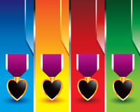 Purple heart on vertical colored banners Stock Image
