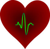 Purple Heart With Pulse Trace Stock Images