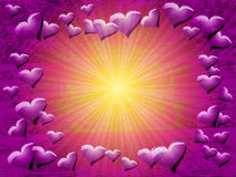 Purple hearts background Royalty Free Stock Photos