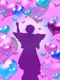 Purple hearts background with angel Stock Photos