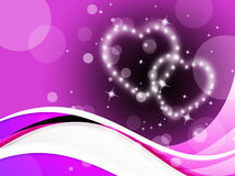 Purple Hearts Background Means Romance Affections And Twinkling Royalty Free Stock Photo