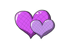 Purple hearts. Be friendly, feel love, white background, illustration Royalty Free Stock Photo