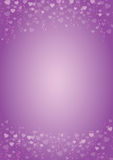 Purple-hearts-love-background. A4 size vertical purple background with hearts header and footer Stock Images