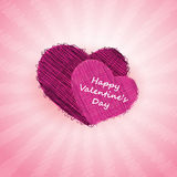 Purple Hearts on Pink Rays - Valentines Day Card Stock Photos