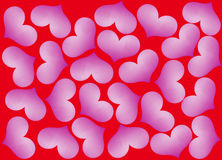 Purple hearts on red Royalty Free Stock Image