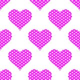 Purple hearts symbol pattern on white background. Heart pattern seamless background vector for web, print, illustration and decoration royalty free illustration