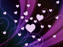 Purple Hearts tło Pokazuje Romantyczną I Namiętną tapetę ilustracji