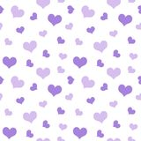 Purple hearts Valentine`s Day pattern seamless.  Royalty Free Stock Photography