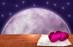 Purple hearts on wooden table - moon background Stock Photography