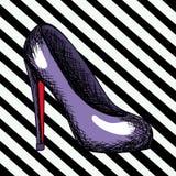 Purple Heel Shoe Sketch In Pop Art On Black Diagonal Striped Background Royalty Free Stock Photography