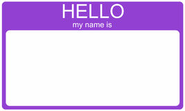 Purple Hello Nametag. A purple name tag with the words Hello My Name Is and a blank white space for your name or text Royalty Free Stock Photos