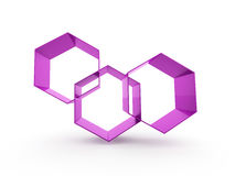 Purple hexagonal icon rendered isolated Stock Photography