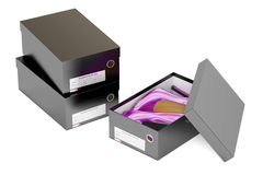 Purple high heel shoes and black shoeboxes, 3D rendering Stock Images