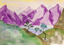 Purple hills, watercolours Stock Images