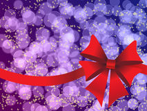 Purple holiday's background with red bow Royalty Free Stock Photography