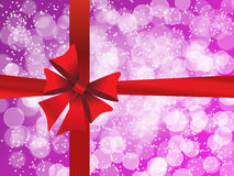 Purple holiday's background with a red bow Stock Photography