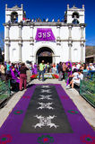 Purple Holy Week carpet, Antigua, Guatemala. ANTIGUA, GUATEMALA - MARCH 25, 2007: Holy Week carpet (or alfombra) made in the path of a religious procession using Royalty Free Stock Photo