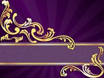 Purple horizontal banner with gold filigree Royalty Free Stock Images
