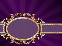 Purple horizontal banner with gold filigree. Stylish banner with metallic swirls. Graphics are grouped and in several layers for easy editing. The file can be stock illustration
