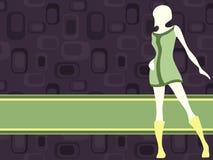 Purple horizontal retro banner with mod girl Royalty Free Stock Photos