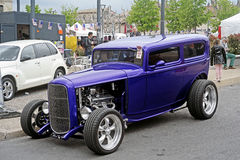 Purple hot rod parked Royalty Free Stock Photo