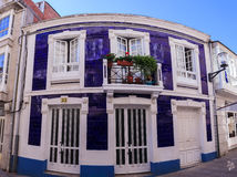 Purple house in Sarria. View of purple house in Sarria, Spain stock images