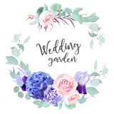 Purple hydrangea, pink rose, violet iris, carnation, blue mint e. Ucalyptus, agonis and greenery vector design round frame. Wedding delicate invitation card. All vector illustration