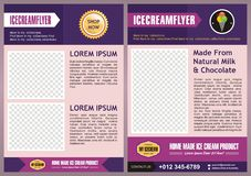 Purple Ice Cream Flyer / Brochure back & front Template Design Royalty Free Stock Photography