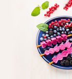 Purple  Ice cream pops  in blue plate with summer berries on white wooden background Royalty Free Stock Photography
