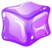 Purple ice cube on white Royalty Free Stock Photos