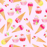 Purple icecream cones, cupcakes with roses watercolor seamless v Royalty Free Stock Photography