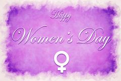 Illustration card with text Happy Women`s Day royalty free stock photography