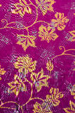 Purple Indonesian Batik with Leaves Pattern Royalty Free Stock Images