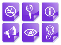 Purple information icon set. Purple business information icon set (see, hear, smoking, magnify Royalty Free Stock Photography