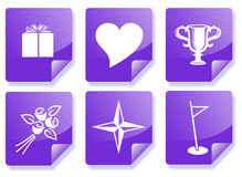 Purple information icon set. Purple business information icon set (fun, girfts, gold, star, heart Royalty Free Stock Photos