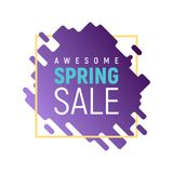 Dynamic square pixel spring sale template. Purple ink spot with yellow frame background. Awesome vector illustration for spring sale Stock Illustration