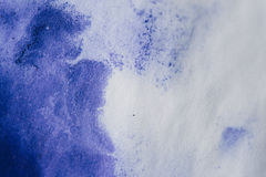 purple ink stain on a sheet of white paper, macro Stock Photo