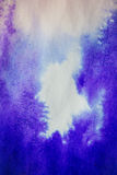 purple ink stain on a sheet of white paper, macro Royalty Free Stock Photos