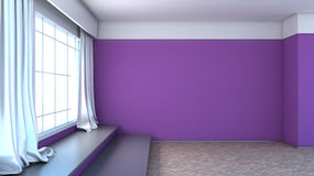 Purple interior with large window Royalty Free Stock Image