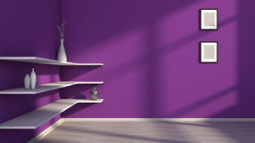 Purple interior with white shelf and vases Royalty Free Stock Image